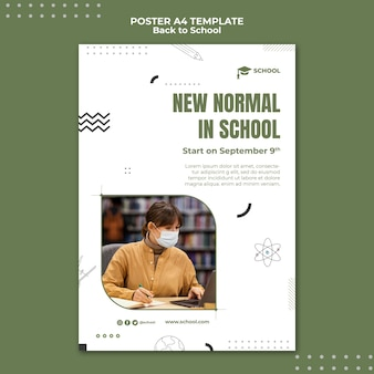 New normal in school poster template
