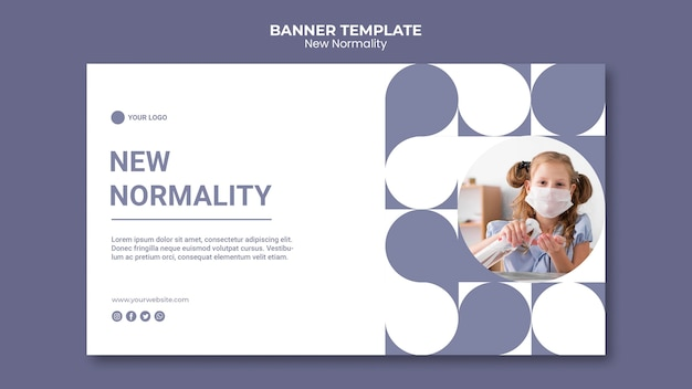 New normality banner template with photo