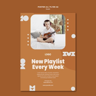 New playlist everyday boy playing ukulele poster