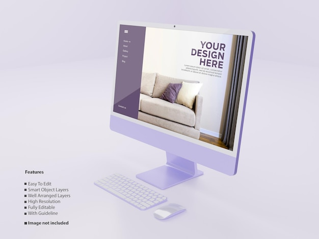 새로운 보라색 바탕 화면 모형 편집 가능한 psd