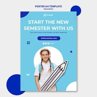 Modello di poster del nuovo semestre scolastico