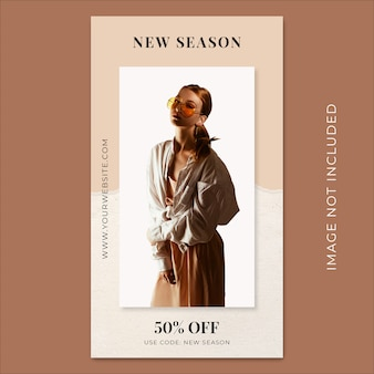 New season fashion collection torn paper instagram stories banner template
