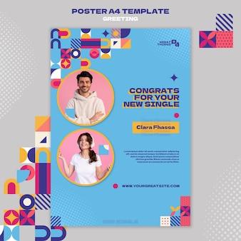 Nuovo modello di poster di congratulazioni singole