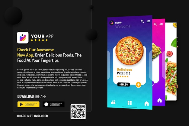 New smartphone app promotion mockup, logo and download buttons with scan qr code