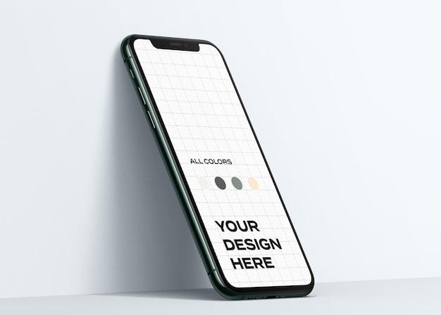 New smartphone mockup leaning on the wall