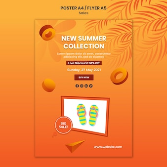 New summer collection poster template
