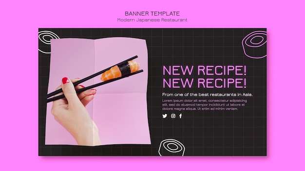 New sushi recipe banner template