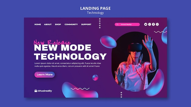 New technology landing page template