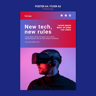 Новые технологии плакат и дизайн шаблона флаера