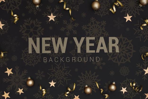 Новый год 2020 фон со звездами и елочными шарами