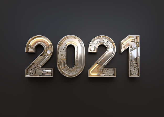 New year 2020 made from mechanical alphabet