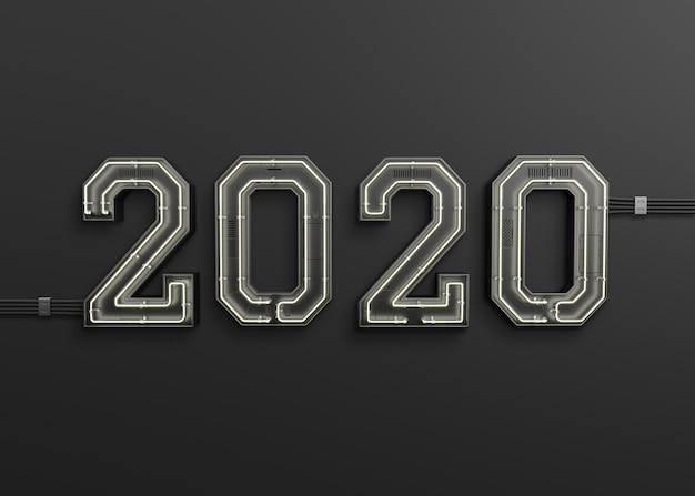 New year 2020 made from neon light