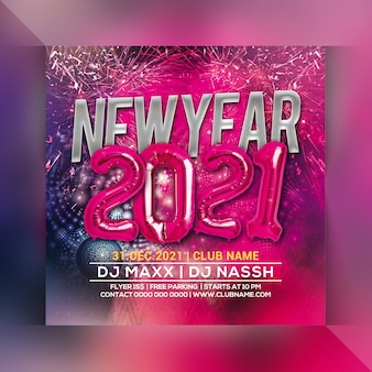 New year 2021 party flyer