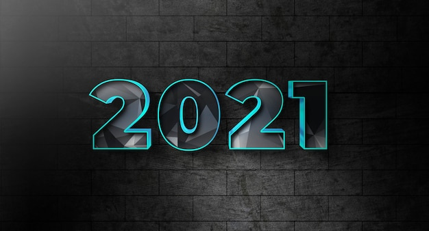 New year 2021 text style effect template