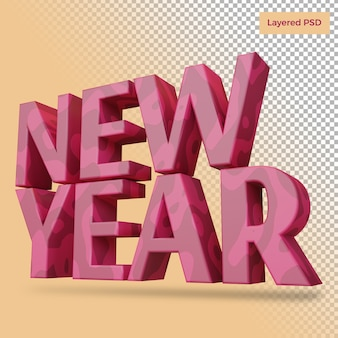 New year bold letter render isolated