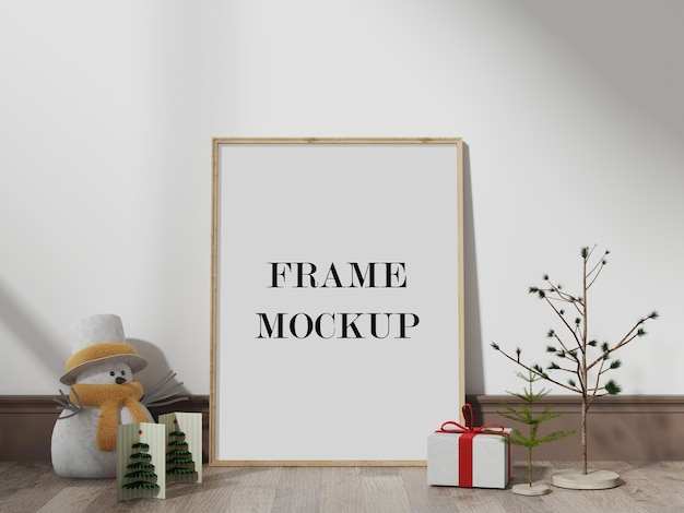 New year and christmas eve frame mockup