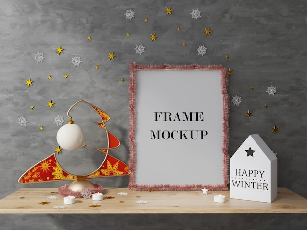 New year and christmas holiday picture frame 3d rendering mockup