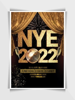 New year club party flyer template or social media post