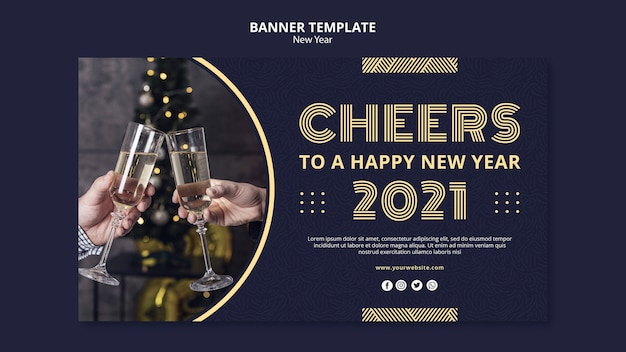New year concept banner template