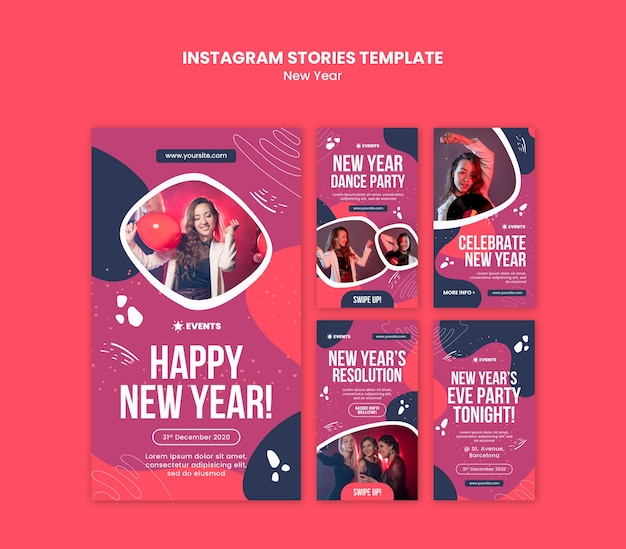 New year concept instagram stories template
