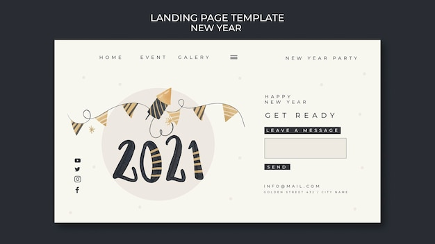 New year concept landing page template