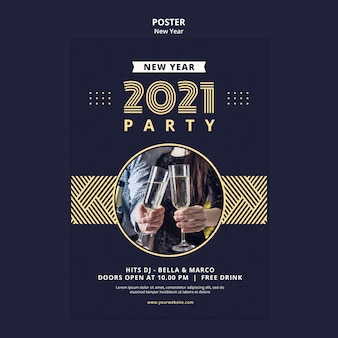 New year concept poster template