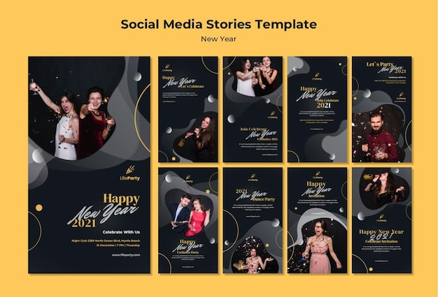 New year concept social media stories template