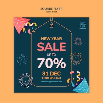 New year concept square flyer template