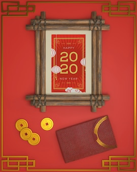 新年の日付フレームと横にある装飾品