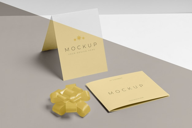 New year invitation mock-up with ribbon