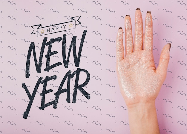 New year lettering mock-up on pink background