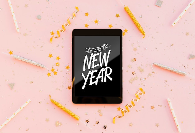 New year minimalist lettering on black tablet