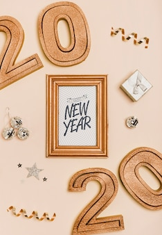New year minimalist lettering on golden frame