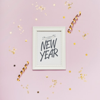 New year minimalist lettering on white frame