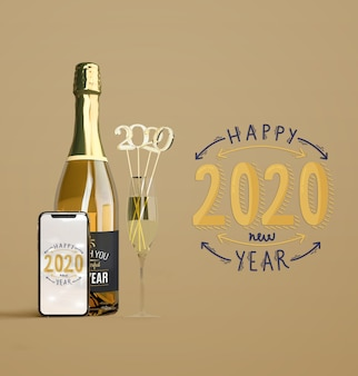 New year mock-up with champagne