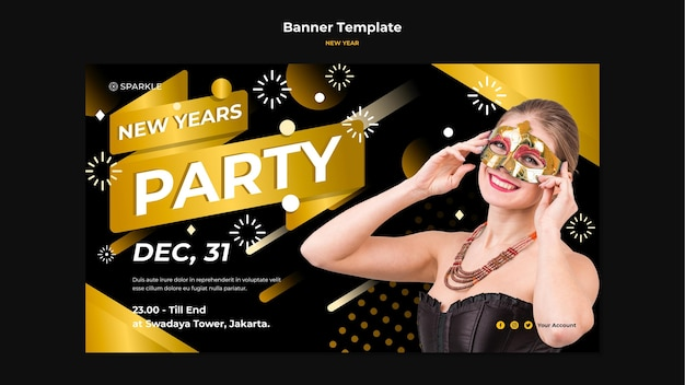 New year party banner template