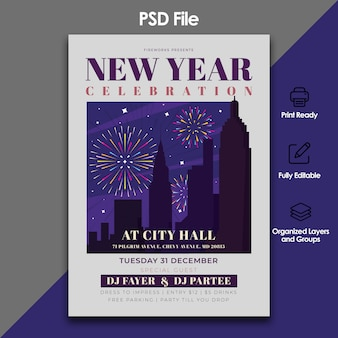 New year party and celebration flyer template