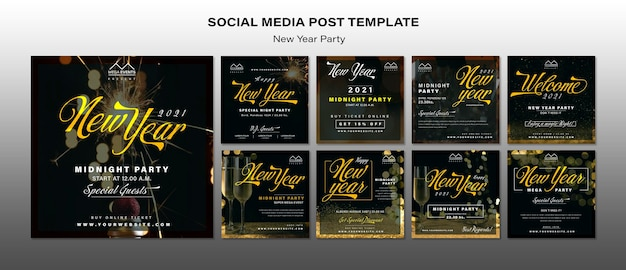 New year party social media posts template