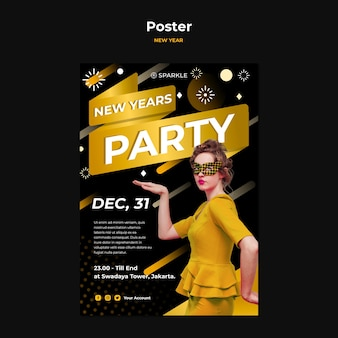 New year party template poster