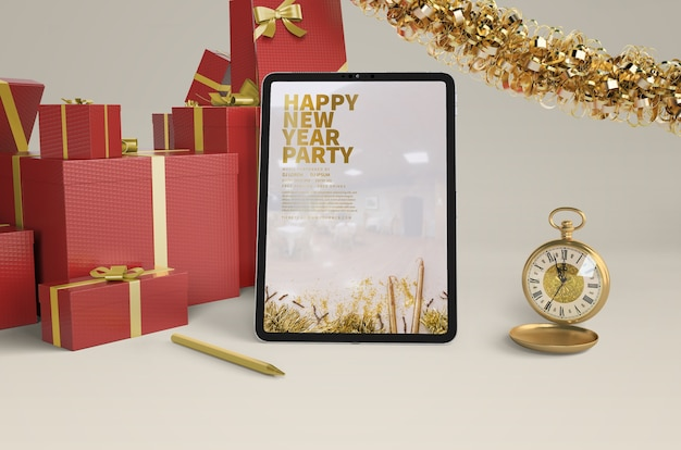 New year presents with ipad mock-up
