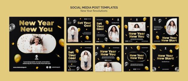 黄金の詳細を含む新年の決議instagramの投稿