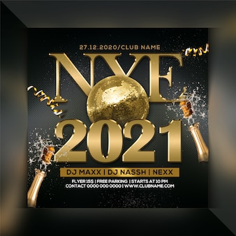 New year's eve celebration party flyer or template