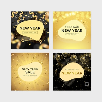 New year sale banner set