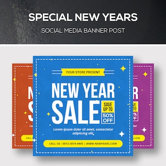 New year sale banner square size for instagram