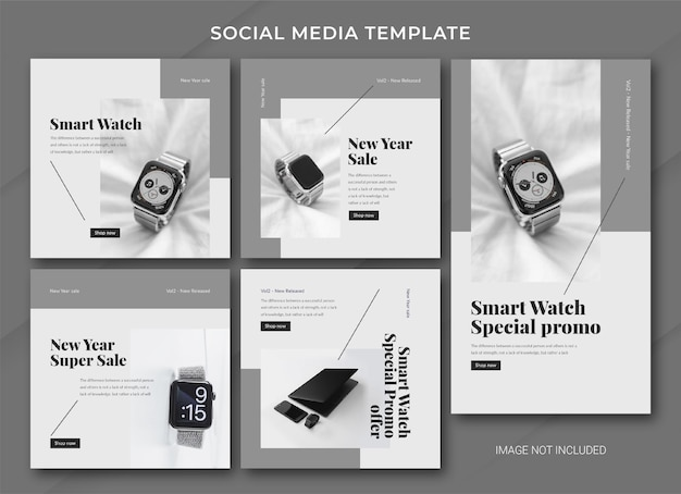 New year sale instagram post bundle template