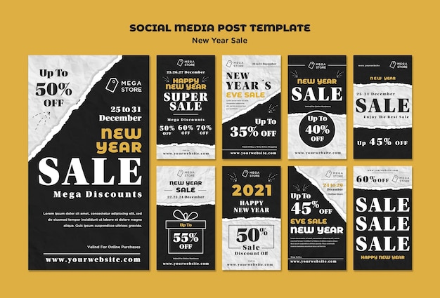 New year sale instagram stories template