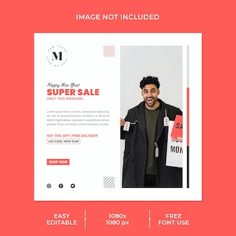 New year sale social media post template