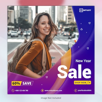 New year sale social media template