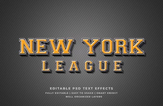 New york league 3d text style effect