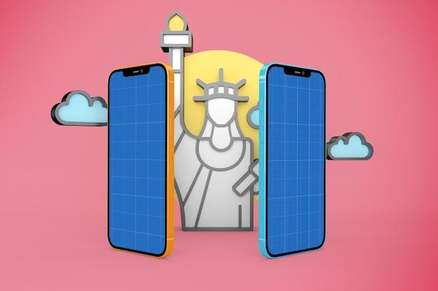 New york and phone mockup